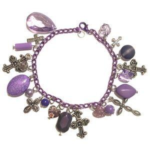 Purple cross charm bracelet